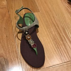 Shoes - Chanel tweed charm thong sandals 40
